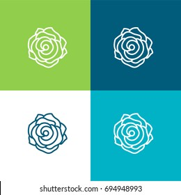 Rose green and blue material color minimal icon or logo design