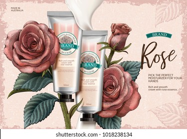 Rose hand cream ads, exquisite hand cream product and creamy texture in 3d illustration with roses decorations in etching shading style