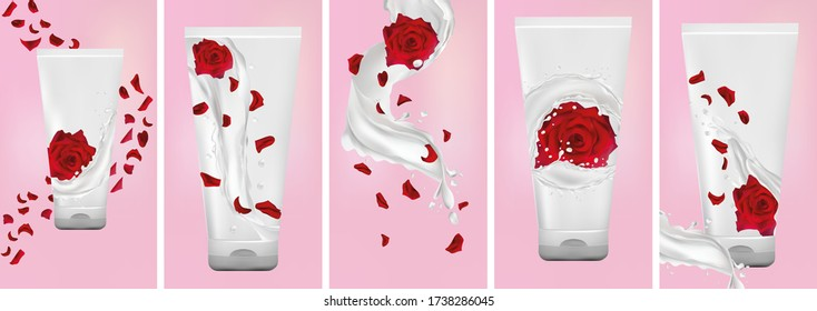 Rose hand cream, milk splash with flower rose. Set design package cream. Flying rose, petals and splashing yogurt. 3D realistic rose. Vector illustration.