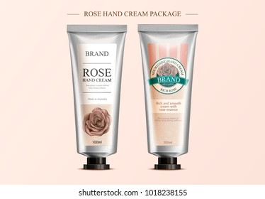 Rose hand cream mockup, package design template with attractive label design in 3d illustration, retro etching shading style label