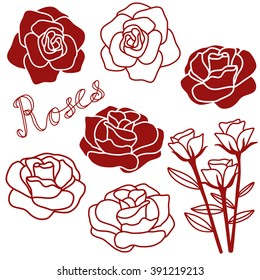 Rose hand drawn clip art background icons