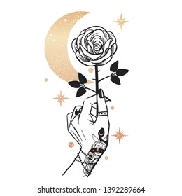 Rose in hand. Vector hand drawn illustration