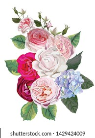 Rose and hydrangea floral bouquet - vector
