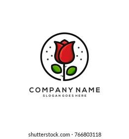 rose icon design vector, rose flower logo template