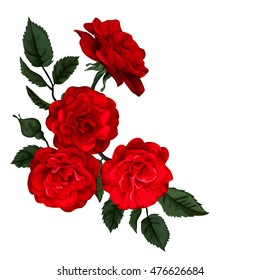 Rose isolated on white. Perfect for background greeting cards and invitations of the wedding, birthday, Valentine's Day, Mother's Day.
