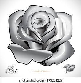 Rose, leafs and background on different layers