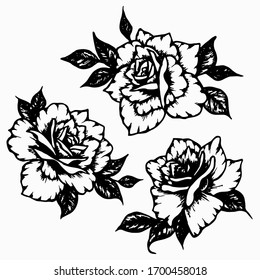 Rose with leaves set. Hand drawn black ink beautiful graphic flower for decoration of frames, tattoo, cards, poster, social media template. Stock vector illustration isolated on transparent background