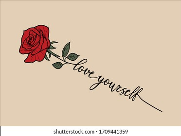 rose lettering hand drawing design fashion trend,mug design,phone case tattoo,stationery,motivational positive inspirational  quote,embroidery stationery,towel,linens