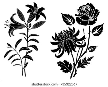 Rose and lily and chrysanthemum tattoo. Silhouette of flowers and leaves on a white background.