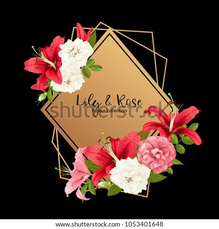 Rose Lily Wedding Invittion Vector Card Stock Vector Royalty Free