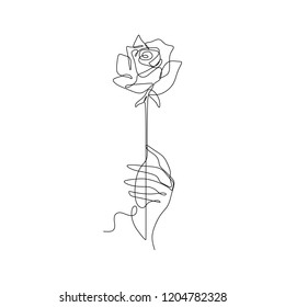 Rose line art drawing. One continuous lineart of a hand holding flower. Minimalist style.