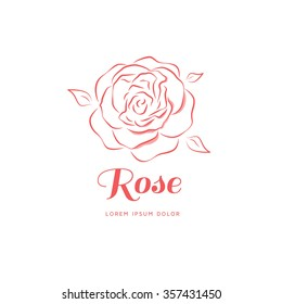 Rose in a linear style. Logo for a beauty salon. Vector illustration