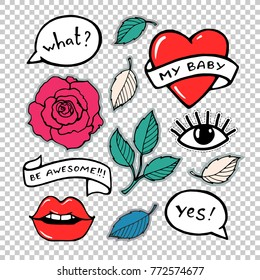 Rose, lips, eye, speech bubble. Sticker, patch, embroidery set collection. Vector artwork. Fashion badges. Wallpaper. Vintage, retro 90s concept. Black and white, red, blue, pink, green color.