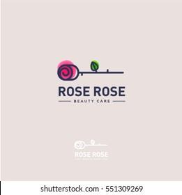 Rose logo. Rose emblem. The flower on a light - pink background and letters.