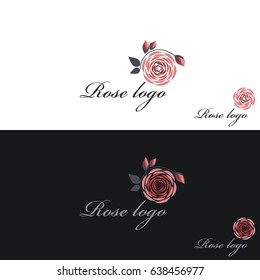Rose logo. Vector clipart. White and black background.