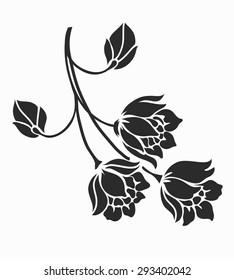 Rose motif,Flower design elements vector.