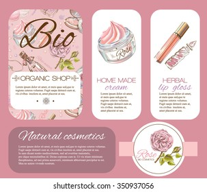 Rose natural cosmetic banner. Design for cosmetics, make up, store, beauty salon, natural and organic products. Vector illustration