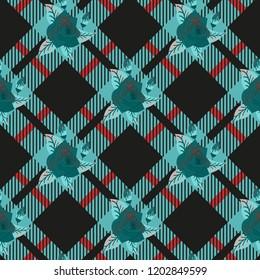 rose on Blue White Diamond Chessboard tartan plaid Background Vector Illustration