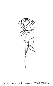 Rose one line art. Flower vector icon