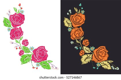 Rose patches set, flower embroidery for t-shirt design, neck line print, ... Hand drawn editable elements, retro collection, vintage vector illustration.
