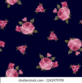 Rose Pattern with green leaves on background, bouquet roses for textile pattern,fashion print,fabric design