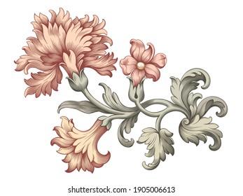 Rose peony carnation flower vintage pink Baroque Victorian floral ornament frame border golden leaf scroll engraved red retro pattern decorative design tattoo botany filigree calligraphic vector