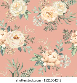 Rose, peony flowers with green leaves bouquets, pink background. Floral illustration. Vector seamless pattern. Botanical design. Nature summer plants. Romantic wedding