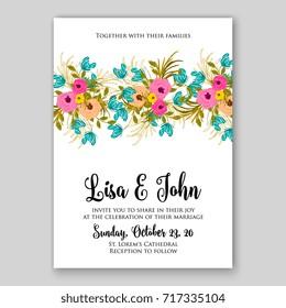 Rose, peony, ranunculus wedding invitation autumn vector design