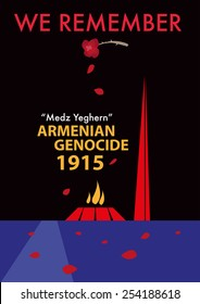 Rose petals falls over the Armenian Genocide Memorial grounds in Yerevan, Armenia to commemorate its annual anniversary of the historical massacre called Medz Yeghern. Vector eps10 graphics template