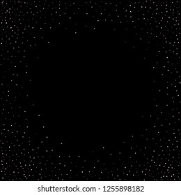 Rose, pink stars, sprocket, shiny confetti. Scattered little sparkling, silver, glitter balls, circles. Random stellar falling on black background. New Year Christmas background. Vector illustration.