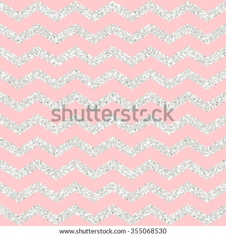 Rose Quartz Shining Silver Glitter Chevron Background Fashion Trendy Wallpaper