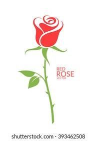Rose. Red flower on white background. Vector illustration EPS10