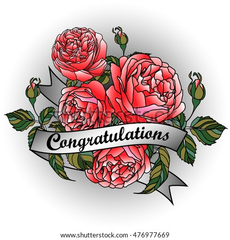 Rose ribbon word congratulations paper cutting stock vector royalty rose with ribbon and word congratulations paper cutting background with rose hand drawn mightylinksfo
