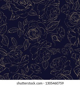 The Rose seamless pattern. Luxurious flowers wallapaper in vintage style. Seamless fabric of blooming roses for floral design. Vector illustration.