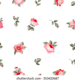 Rose seamless pattern with small buds over white background. Luxurious floral wallapaper in vintage style. Vector illustration.
