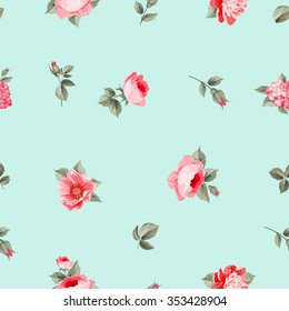 Rose seamless pattern with small buds over blue background. Luxurious floral wallapaper in vintage style. Vector illustration.