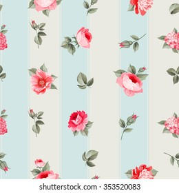 Rose seamless pattern with small buds over linear gray background. Luxurious floral wallapaper in vintage style. Vector illustration.