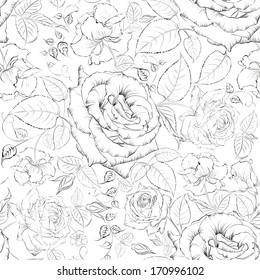 Rose seamless. Vector illustration.