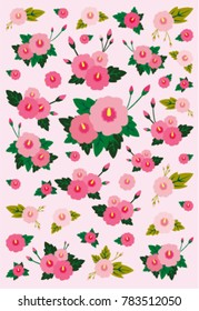 Rose of Sharon, the flower symbolizing Korea on pink Background. Vector Illustration