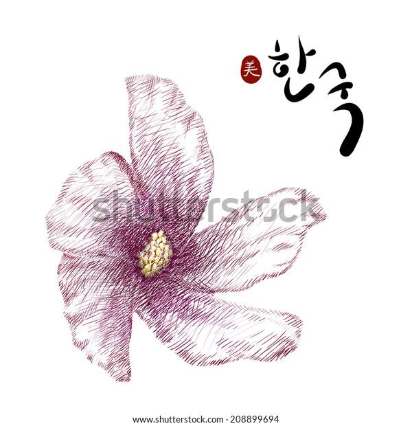 Rose Sharon Korean National Flower Hieroglyph Stock Vector Royalty