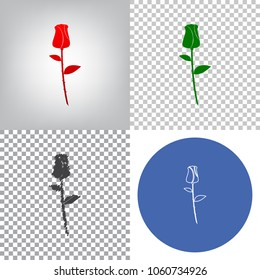 Rose sign illustration. Vector. 4 styles. Red gradient in radial lighted background, green flat and gray scribble icons on transparent and linear one in blue circle.
