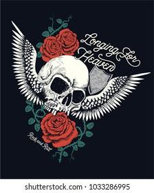 Rose and skull handmade graphic work.Vector