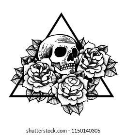 Rose and skull tattoo with sacred geometry frame. Traditional black dot style ink. Roses isolated vector illustration. Traditional Tattoo Flowers Set Old School Tattooing Style Ink.