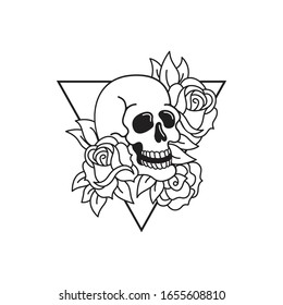 Rose and skull tattoo template. Roses isolated vector illustration. Traditional tattoo flowers set old school tattooing style ink.
