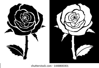 Rose with stem, throrn and Leaves - Scroll saw, Intarsia, T Shirt design, Wall sticker, Tattoo or Embossing art with black and white background