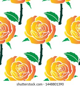 Rose with stem, throrn and Leaves - Scroll saw, Intarsia, T Shirt design, Wall sticker, Tattoo or Embossing art is in Seamless Pattern