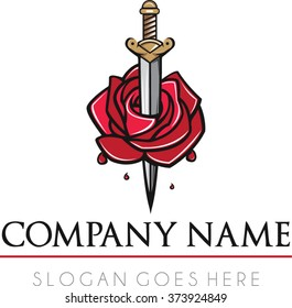 Rose sword logo vector | Flat sword medieval romance logo vector | Romeo and Juliet logo vector | Tattoo business logo vector