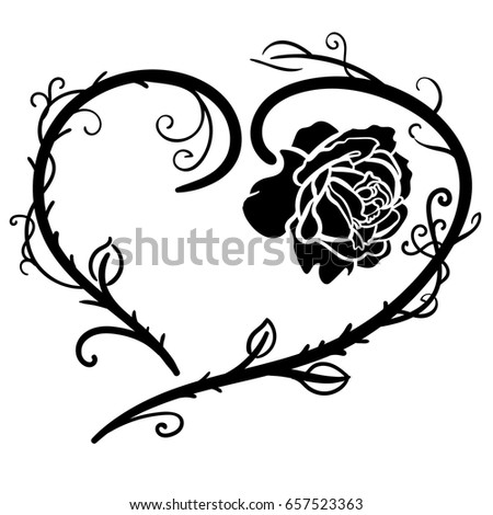 Rose Tattoo Beautiful Heart Silhouette Roses Stock Vector Royalty