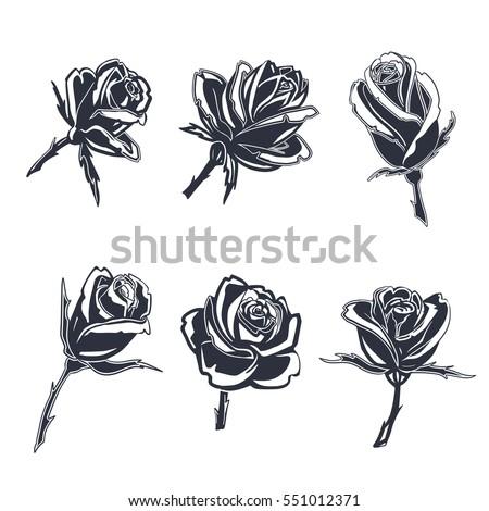 Rose Tattoo Black Silhouette Flowers Set Stockvector Rechtenvrij