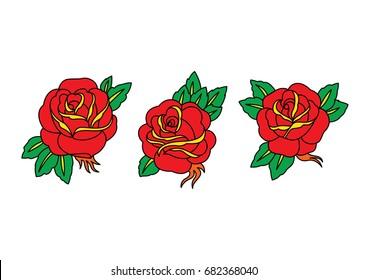 Rose Tattoo Flower Illustration Set